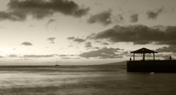 Waikiki Black and White at Sunset